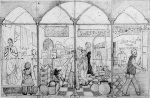 Drawing for Spitalfields Mural