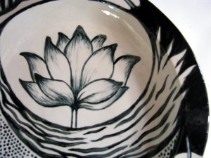 Lotus fern dish detail